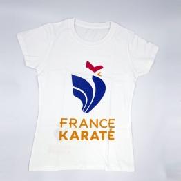 "T-shirt ""France Karaté"" blanc/or Femme"
