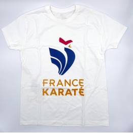 "T-shirt ""France Karaté"" blanc/or Homme"