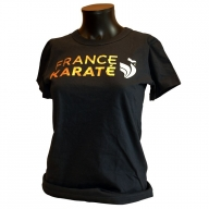 "T-shirt ""France Karaté"" marine/or Femme"
